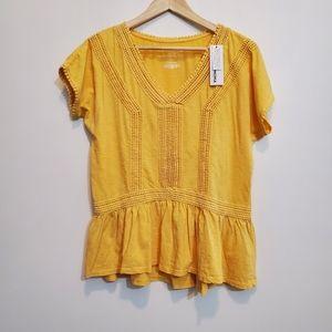 Sonoma Sunny Yellow Short Sleeve Cotton Top